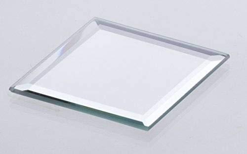 INNA-Glas Posavasos de Cristal Cuadrado con Espejo - Plato de Vidrio BABSI, 25x25x0,5cm - Recipiente Decorativo - Plato para Aperitivos