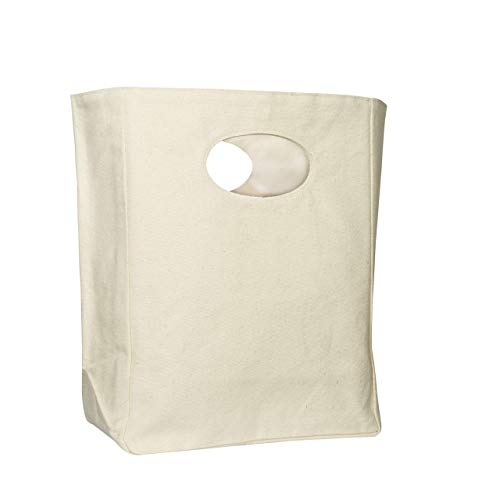 Organic Cotton Canvas Lunch Bag - Bento Box Lunch Bag - Reusable and Machine Washable Lunch Bag - Canvas Lunch Tote for Men, Women and Kids - Eco Friendly Lunch Bag (White)