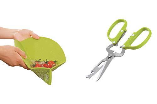 Ambrosya   Tajadera plegable con tamiz integrado   Tablero bandeja de goteo pequeño hogar cocina plástico tijeras circulares cortar estera de corte conjunto (Verde, Tabla de cortar + tijeras)
