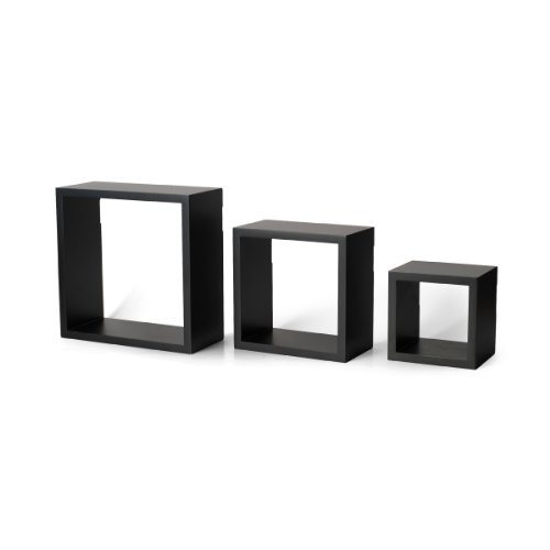 MELANNCO Floating Wall Mount Square Cube Shelves, Set of 3, Black