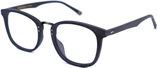 J&L Glasses Retro Klassisches Nerd Klar Hornbrille Brille mit Fensterglas Damen Herren Brillenfassung holz Stil (Black)