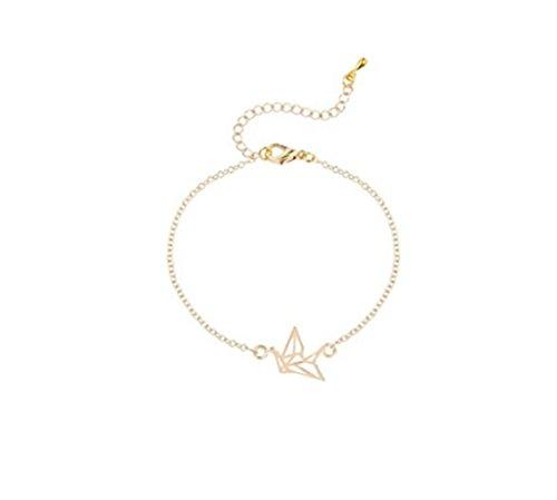 Dorado y plateado pulsera de grúa para Origami Cute Animal pájaros Simple elegante joyería regalo para ella