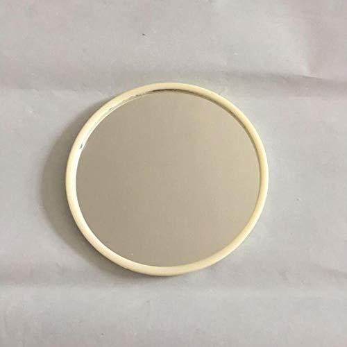 xmwm Portable Miroir de Maquillage Miroir de Maquillage Forme Ronde Mesdames Mini Miroir de Maquillage cosmétique, Blanc crème