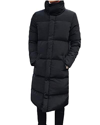 Yonglan Hombre Largo Abajo Chaqueta Invierno Acolchada Cazadora Plumas Abrigo Parka Plus Size Negro XXXL