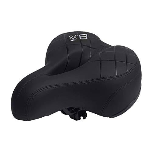 BWBIKE Breiter, weicher, flexibler Fahrradsattel, stoßfestes Design, extra Komfort, passend für Mountainbike, Klapprad, Rennrad, Spinningrad, Heimtrainer (schwarz 874)