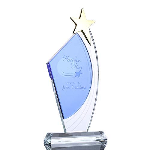 H&D Gepersonaliseerde Crystal Plaque Golden Star Decor glazen trofee op basis met gratis aangepaste gegraveerd