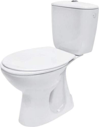 VBChome Stand- WC Toilette Keramik Komplett Set mit Spülkasten WC- Sitz aus Duroplast für waagerechten Abgang Wasseranschluss