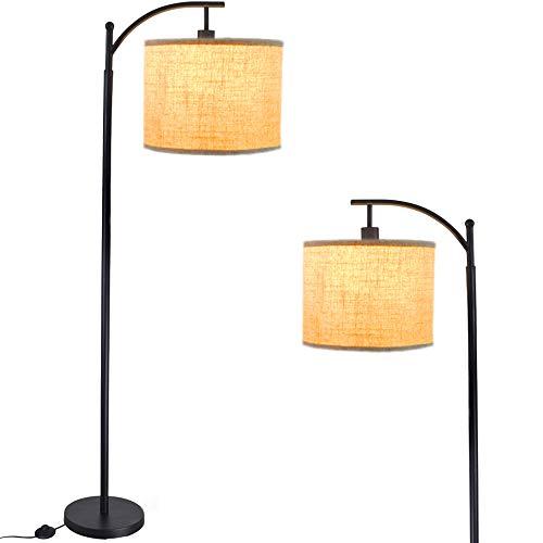 Iron led Floor Lamp 3000k Warm White Floor Light,Eye Protection led Reading Standing Lamp for Living Room, Bedroom, Bedside,Office, Study,Modern Pole Light with E27 Bulb, Beige [Energy Class A+++]