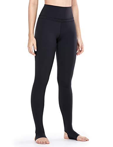 CRZ YOGA Femmes Taille Haute Pantalons Leggings Pied de Pas avec Pochette de Clé- 71cm Noir 42