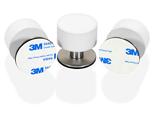 Brunshaw 3-Pack Rubber Door Stops, Impact Buffer, Sound Dampening Bumper for Home, Offices - Protects Door, Furniture, Walls from Damage - No Drill Installation with Strong 3M Adhesive Back - White