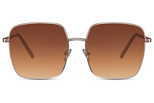 Cheapass Gafas de sol Grandes Oversize Cuadradas Doradas Estilo Metálico con Lentes Graduales Marrones con protección UV400 Mujeres