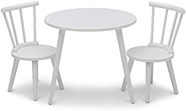 Delta Children Homestead Kids Table & 2 Chairs Set - Ideal for Arts & Crafts, Bianca White