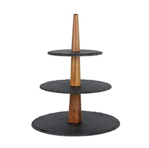 DIBAO Tarde té fiesta pastel soporte de madera roca bandeja de tres...