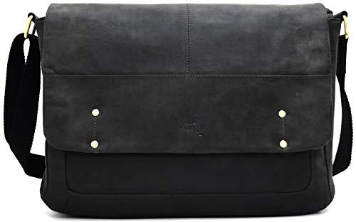 TUSC Aaron Grau Leder Tasche Vintage Laptoptasche 15,6 Zoll 14 Zoll Herren Damen Unisex Umhängetasche Aktentasche Schultertasche für Büro Notebook Messenger Bag Laptop iPad, 38x28x9cm