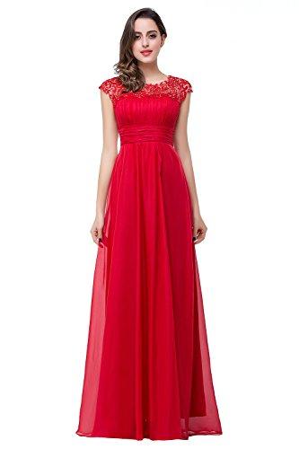 Babyonlinedress Damen Elegant A-Linie Chiffon Abendkleid Brautjungfernkleid Ballkleid Lang Rot 38