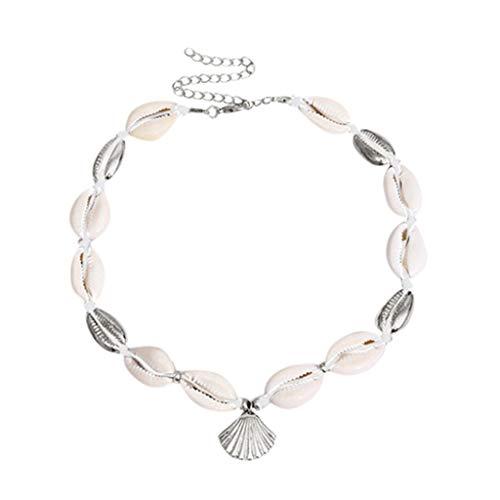 Yowablo Halskette Shell Choker Halskette für Frauen verstellbare natürliche Muschel Metall (D)