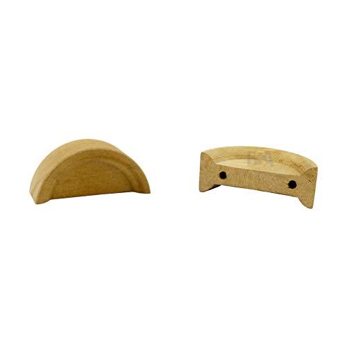 2 Pomelli maniglie legno mezza luna 40 x 17 x 14 mm FOR FOREST 02 femmina mdf manopole cassetto ante armadi credenze porte grezzo non verniciato