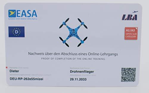 MJ Drohnenführerschein - mit QR-Code und Adresse auf Rückseite, Nachweis für A1-A3 in Scheckkartengröße, hochwertige Plastikkarte mit über 600dpi