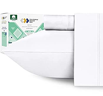 600 Thread Count 100% Cotton Sheets - Pure White Extra Long-staple Cotton Twin XL Sheets for Kids & Adults Fits Mattress 15   Deep Pocket Sateen Weave Soft Cotton 3 Pc Bed Sheet Set