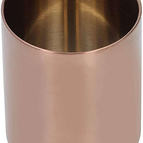 YuKeShop Acero inoxidable redondo titular de la pluma práctico jarrón cosmético cepillo contenedor decoración de escritorio para la oficina en el hogar