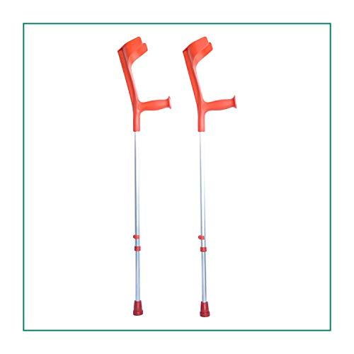 ORTONES | Gehhilfen | Pack verstellbare Krücken aus Aluminium mit Ersatzkappen | Rot