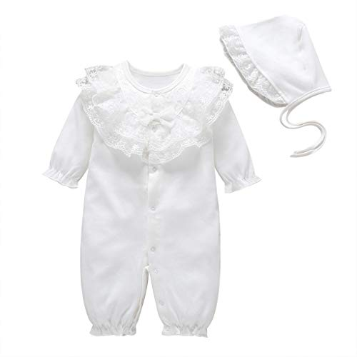 Livoral Neugeborene Baby Mädchen solide Rüschen Lace Strampler Overall + Hut Outfits Sets(Weiß,0-3 Monate)