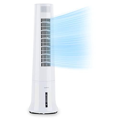 KLARSTEIN Highrise - Enfriador de Aire 3 en 1, Caudal 530 m³/h, 35 W, Oscilación, 3 Modos de Funcionamiento, Depósito 2,5 L, Filtro Desmontable, Temporizador, Panel de Control táctil, Blanco