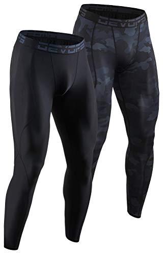 DEVOPS 2 Pack Men's Compression Pants Athletic Leggings (X-Large, Black/Camo Black)