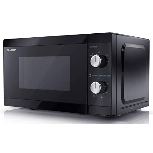Sharp YC-MS01U-B 800 W Solo Microwave Oven with 20 Litre Capacity, 5 Power Levels & Defrost Function – Black