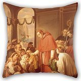 Slimmingpiggy Pillow Covers Of Oil Painting Jos?? Salom?? Pina - Saint Charles Borromeo Handing Out Alms To The People 18 X 18 Inches / 45 By 45 Cm,best Fit For Wife,bench,dining Room,deck Chair,hi