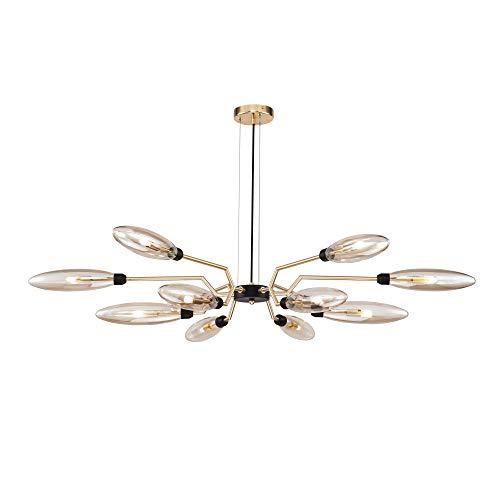 Suspension Lustre Design, 12 Lampes, Style Moderne, Art Deco, Armature en Métal couleur or, plafonnieres en verre couleur ambré, 12 ampoules, excl. G9 28W 220-240V