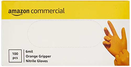 AmazonCommercial Powder Free Disposable Nitrile Gloves, 6 mil, Orange, Tyre-Tread Textured, 240mm,...
