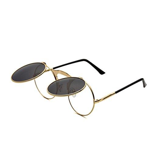 Runde Steampunk Sonnenbrille Flip up Linse Retro Metall Rahmen Sonnenbrille für Damen Herren Gold Rahmen/Schwarz Linse