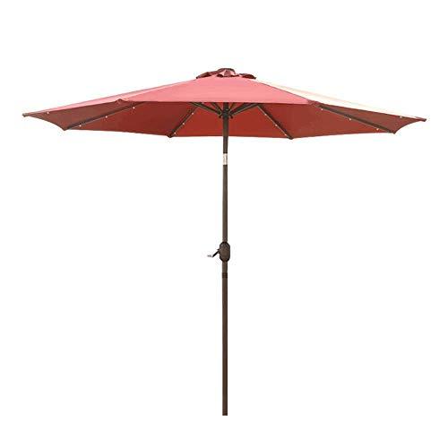 UWY Sombrilla de jardín con manivela, toldo de sombrilla de 2,7 m para terraza al Aire Libre Protección Solar del Patio, con Luces LED y Panel de Almacenamiento Solar, 8 Varillas: Rojo, Caqui, m