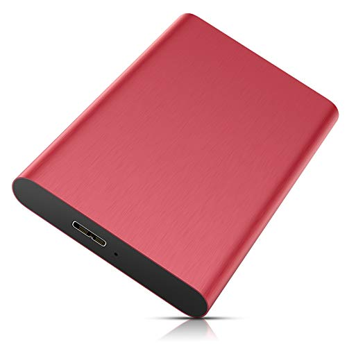 Disco Duro Externo 1 TB, Disco Duro Externo USB 3.0-2.5'' HDD Portátil para Mac, PC, Windows, MacBook, Xbox One (1TB,Rojo)