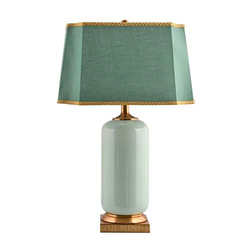 liangzishop Lampara Mesilla de Noche Lámparas de Mesa Modernas Lámpara de Mesa de cerámica con Base de cerámica de cerámica Verde para Sala de Estar Dormitorio Familiar H 63CMX L 42CM Lámpara de Mesa