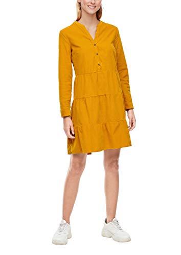 s.Oliver Damen Stufenkleid aus Feincord dark yellow 46