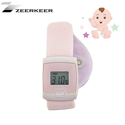 Smart Thermometer, Zeerkeer Smart Bluetooth Kinderen Baby Thermometer LED Display Thermometer Smart Body Temperatuur Armband Smartphone App Real-time Monitoring Lichaamstemperatuur roze