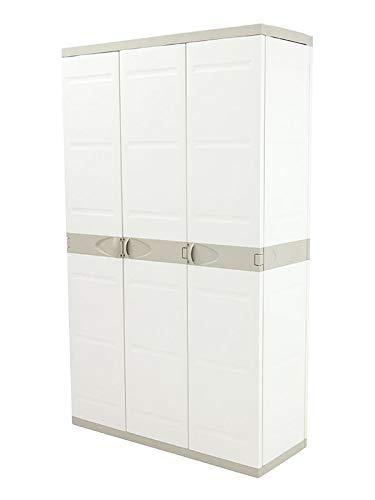 Plastiken Armario TITANIUM 105cm 3 Puertas con (2 puertas con 4 ESTANTES y la tercera puerta tipo ESCOBERO (Sin baldas)) Color BEIG (105cm de ancho x 44 cm de hondo x 176cm de Alto)