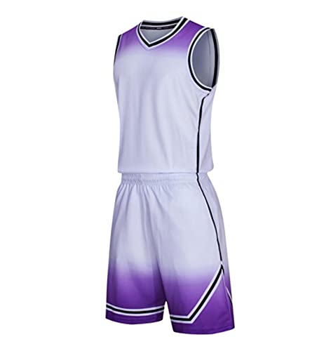 Xygm Juego de camisetas de baloncesto para hombre y niños, universidad y mujer, uniformes de baloncesto, ropa deportiva y pantalones cortos transpirable (color: blanco, tamaño: S)