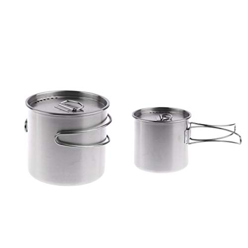 Backbayia 2 X Bouilloire Camping en Acier Inoxydable Tasse avec Poignée Pliable Mug de Boisson