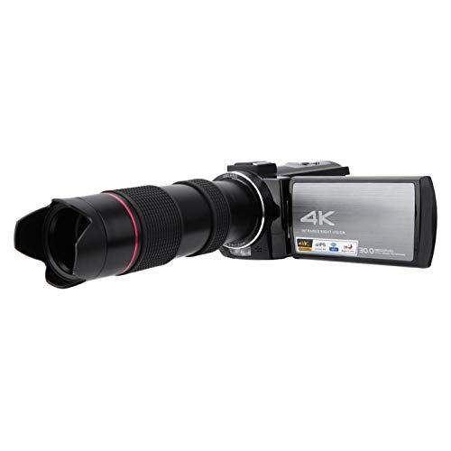 DAUERHAFT con cámara de teleobjetivo con cámara Web con Pantalla táctil IPS, para filmación de microfilm, para Grabar su Vida(Standard + telephoto Glasses)