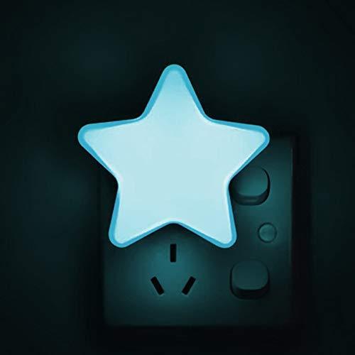 Night Light 4Color LED Sensor Control Night Light Mini Star LED Night Light con Enchufe EU/US para Dark Night Baby Sleeping Light Lámparas de Noche (Color de emisión: E Azul,...