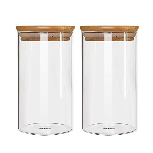 IDEALUX Glass Storage Jar,with Airtight Seal Bamboo Lid, 25 Ounce Set of 2, 750ml Coffee Bean and Kitchen Food Container