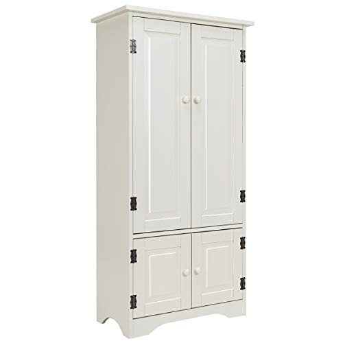 Giantex Accent Floor Storage Cabinet Adjustable Shelves Antique 2-Door Low Floor Cabinet Pantry 24