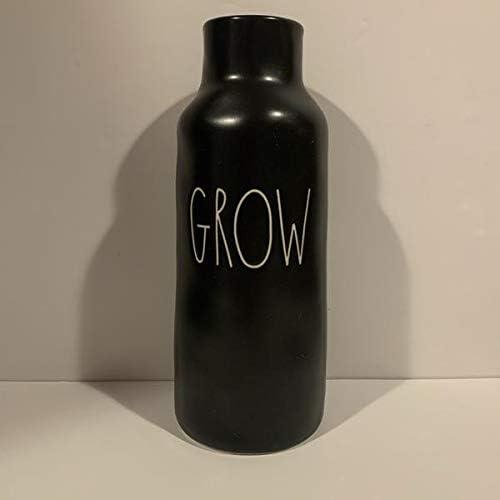 Rae Dunn Grow Vase - 流行 ☆送料無料☆ 当日発送可能 Black Glazed 3.5 in 9 Tall Ceramic inch