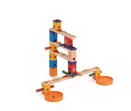 Hape E6012 - Music Motion, Quadrilla Kugelbahn, Konstruktionsspielzeug, mit Musikelementen, 97 teilig, aus Holz, ab 4 Jahren, mehrfarbig
