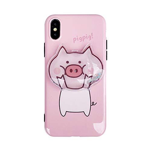 Funda para iPhone Xs Max, para iPhone Xs Max Cover, lindo 3D cerdo suave TPU cubierta líquido fluyendo arena chispa brillo teléfono caso para iPhone Xs Max XR 6S 7 8 Plus (para iPhone 7/8)