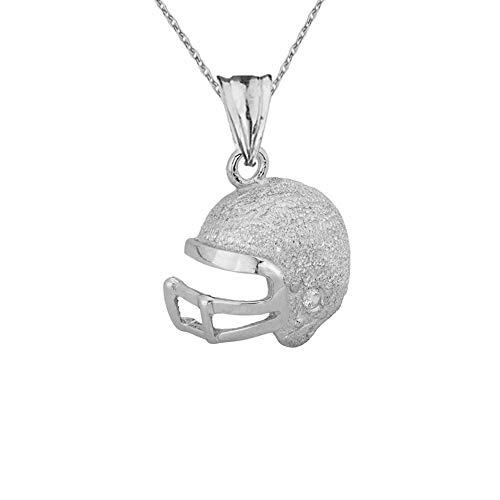 Kleine Schätze Textured Sterling Silber Diamant Football Spieler Helm Anhänger Halskette (Verfügbare Kettenlänge 40 cm - 45CM - 50CM- 55CM)