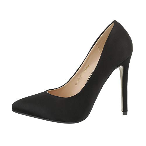 Ital-Design Damenschuhe Pumps High Heel Pumps Canvas Schwarz Gr. 37